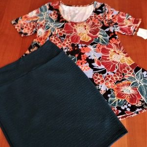LULAROE OUTFIT! M-PERFECT-T TOP & XL- CASSIE SKIRT